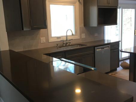 Quartz Countertops and Merillat Cabinet Kitchen Remodeling