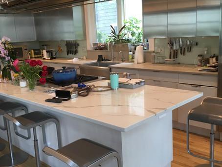 Contemporary Waterfall Quartz Kitchen