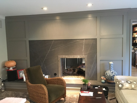Fireplace surrounded with Limestone, Libertyville