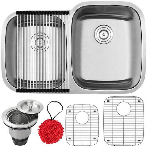 """32.25"""" Ticor E5030R Haven Series 16-Gauge Stainless Steel Double Basin"""