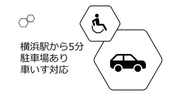 横浜駅から5分。駐車場あり。車いす対応。