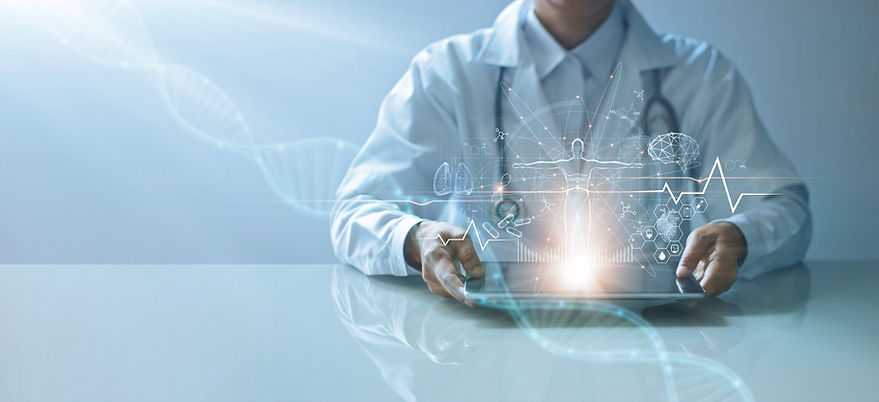 Medicine doctor holding electronic medical record on tablet. DNA. Digital healthcare and n
