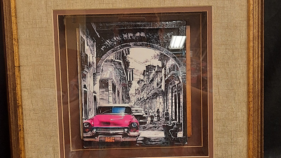 Black and white with pink classic car framed picture