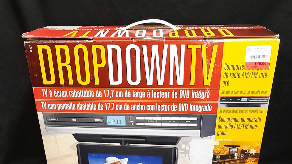 """7"""" wide-screen LCD drop down TV with DVD and AM/FM radio"""