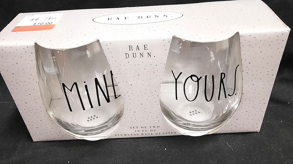 Mine & Yours stemless wine glasses
