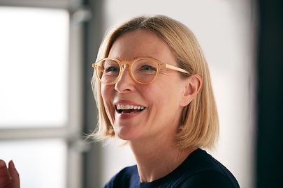 Woman with designer frames