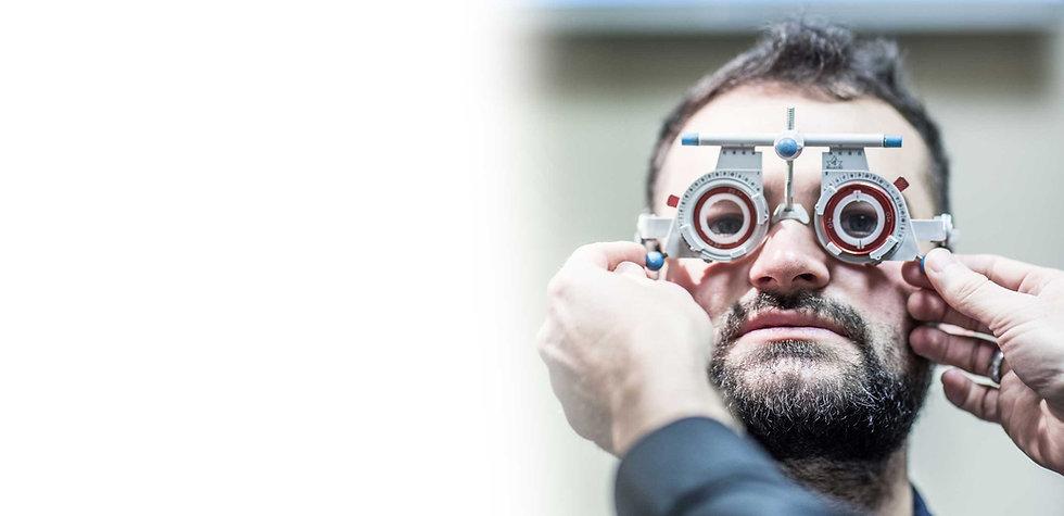 Man having his eye sight tested