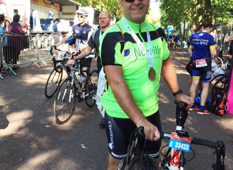 Norville Opticians helps novice cyclist to 'do the ton'