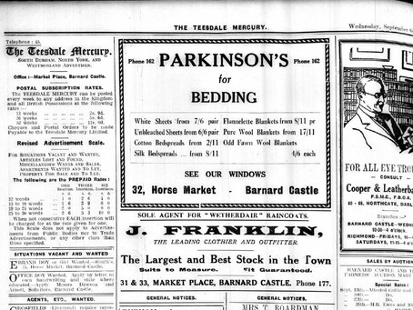 Teesdale Mercury Advert – World War 2