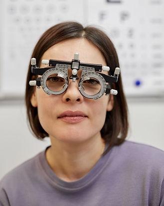 Woman having eyecare done
