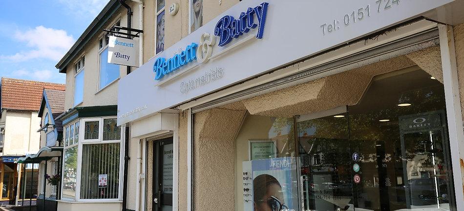 Outside Bennett & Batty Opticians Liverpool