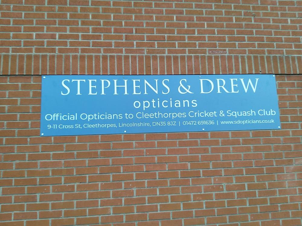 Stephens & Drew Opticians on Cleethorpes Cricket Club signage
