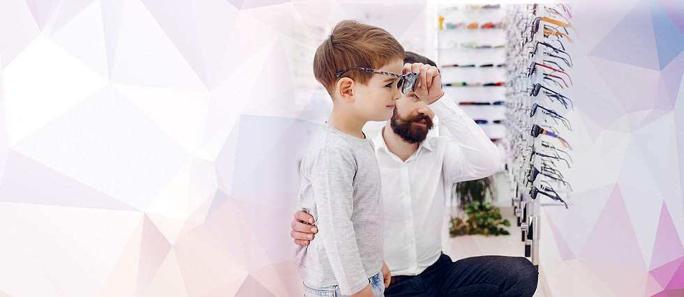 Little boys first eye test & trying on new glasses