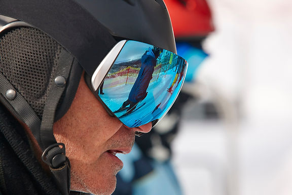Man wearing sports glasses