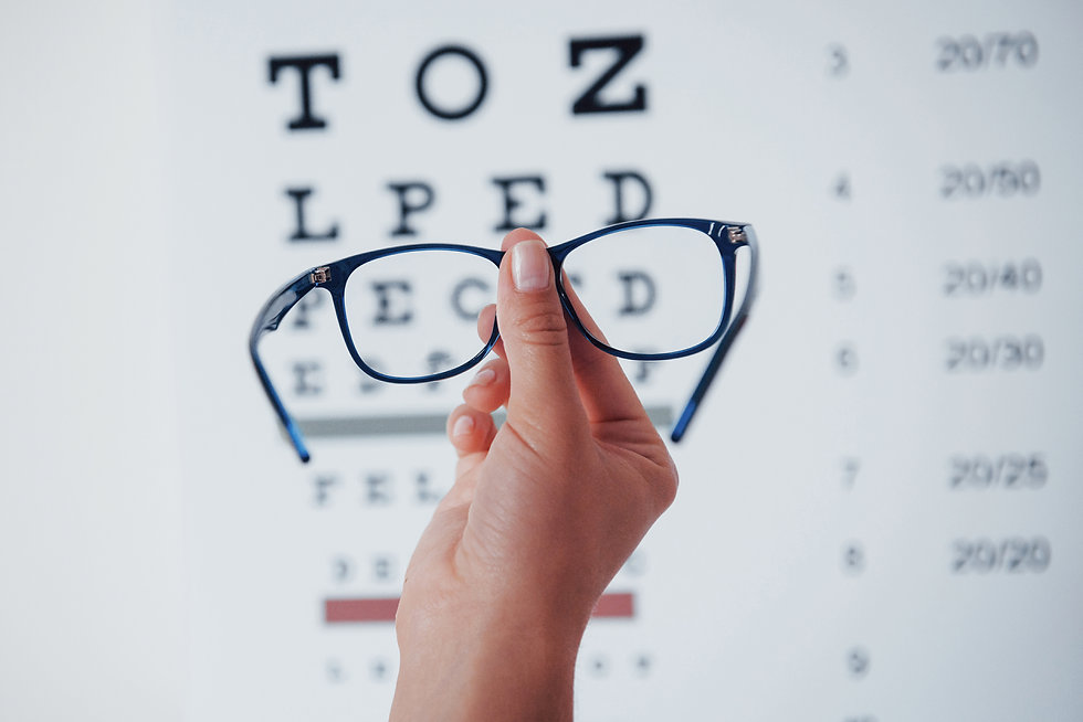 Women holding glasses after an Eye Examination