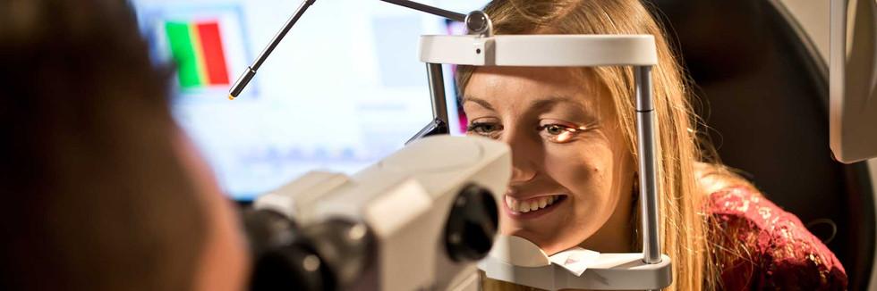 Women having an eye test at J. Oliver Radley Opticians