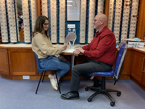 Women at Look Opticians picking glasses