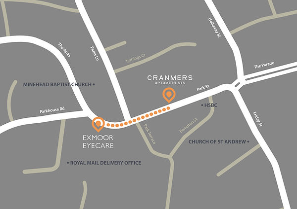 Cranmers Optometrists & Exmoor Eyecare location map