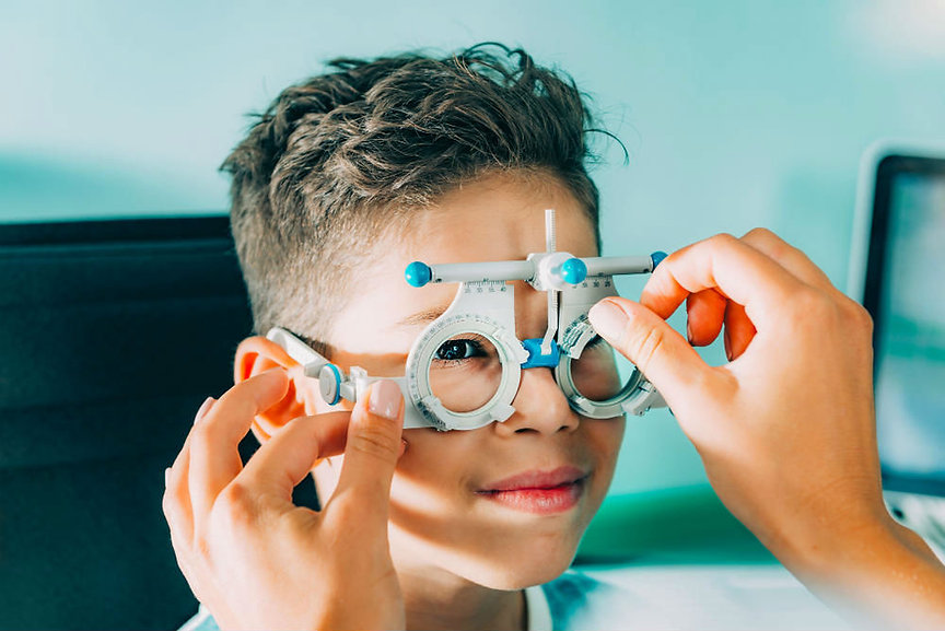 Child having his eyes tested
