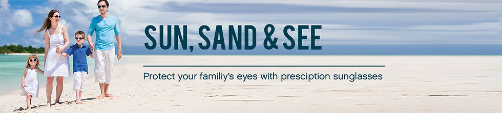 Family walking on the beach - Protect your family's eyes with presciption sunglasses