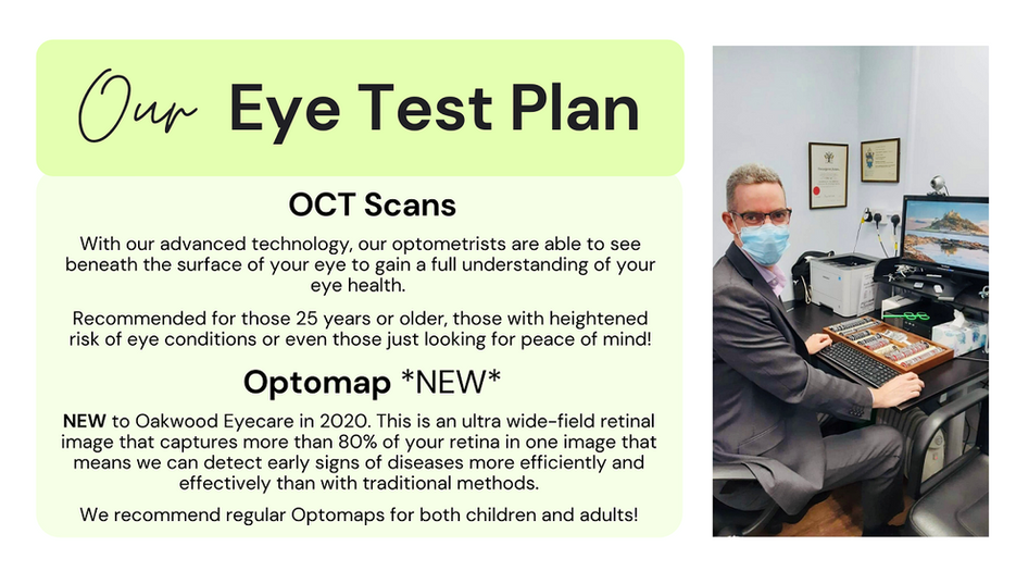 Oakwood Eyecare eye test plan