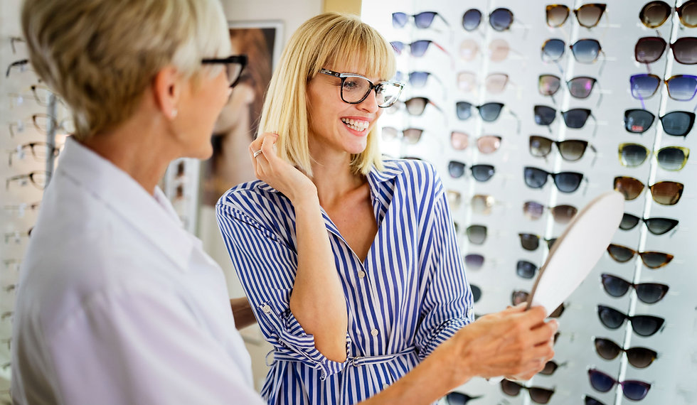 Womans with designer glasses