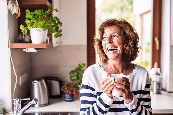 senior woman wearing hearing aids