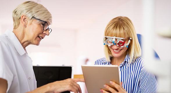 Women at Crompton Opticians having an Eye Test
