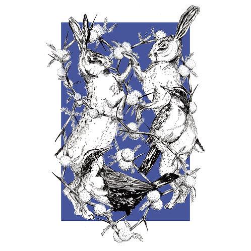 Risografía Conejos y Loica sin enmarcar
