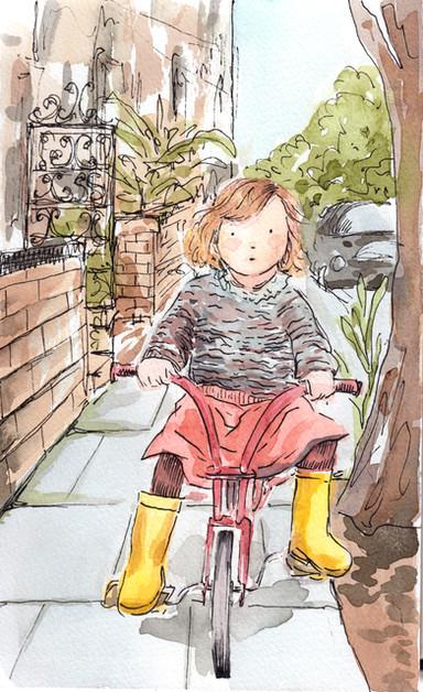 Bici y botas de agua