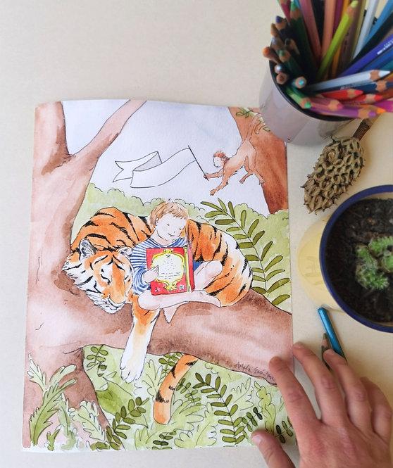 Lámina Personalizable Niño y Tigre