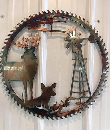 Buck and Doe w/Windmill