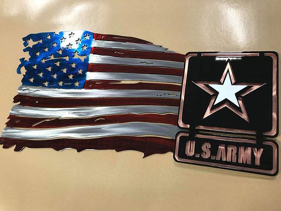 Tattered Flag w/Army logo (3 sizes)