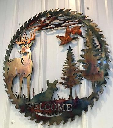 Buck w/doe Welcome