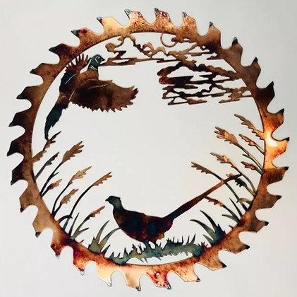 Pheasant Pair Sawblade Cutout