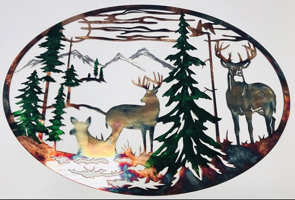 Double Whitetail Evergreen Oval