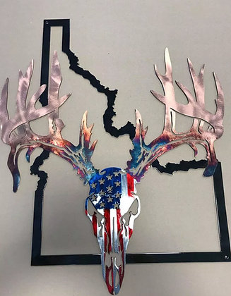 American Flag European Mount w/state outline