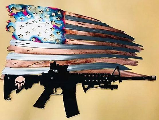 Copper Fire Tattered Flag w/Punisher AR
