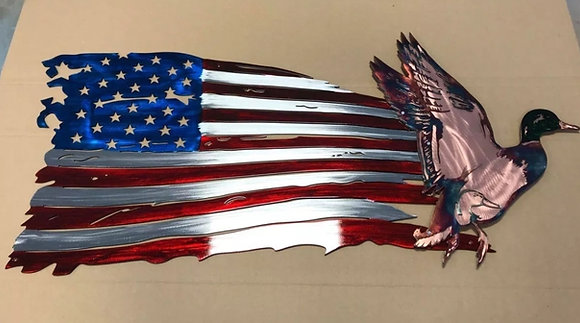 Tattered Flag w/Flying Mallard