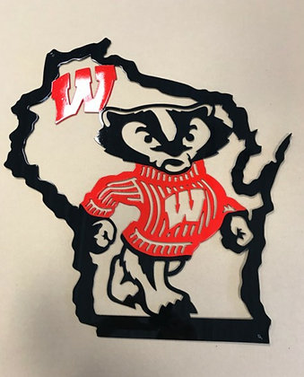 Bucky Badger w/state outline