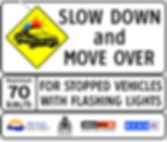 Slow down for vehicles wih flashing lights