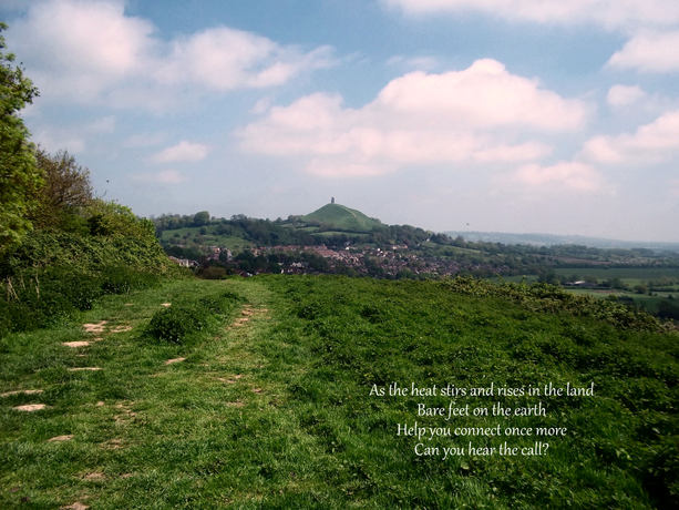 Glastonbury Tor from Wearyall Hill with verse
