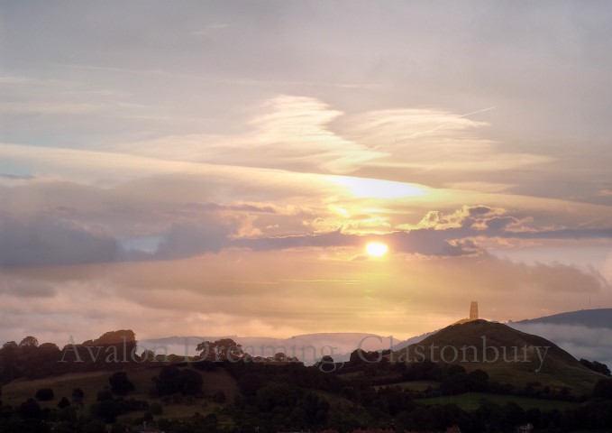 Glastonbury Tor sunset collage