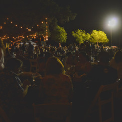 Folks dine under twinkling lights at Endless Summer