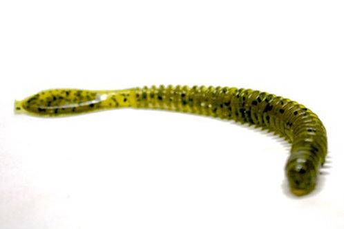 """4"""" Ringer Worm - Green Pumpkin Seed w/Black Flake"""