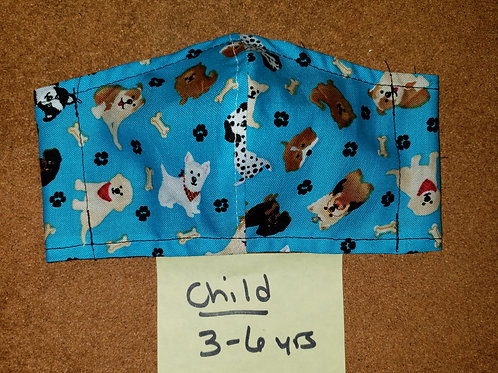 Child Size (ages 3-6) Fitted Style Face Mask - Fabric CF049