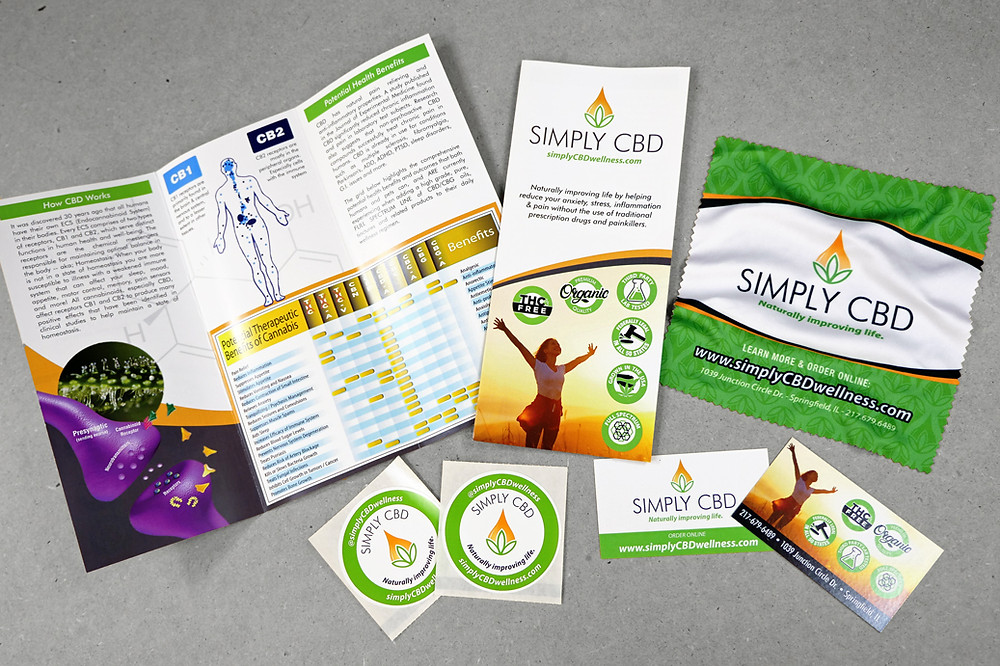 Graphic design of brochures, business cards, stickers and microfiber wipes.