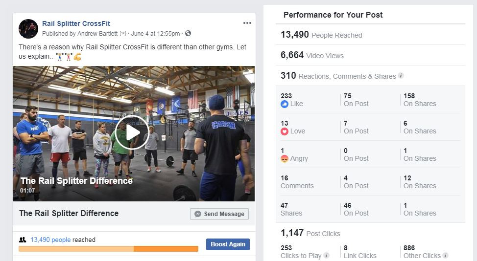 Facebook Promotional Video Post Statistics