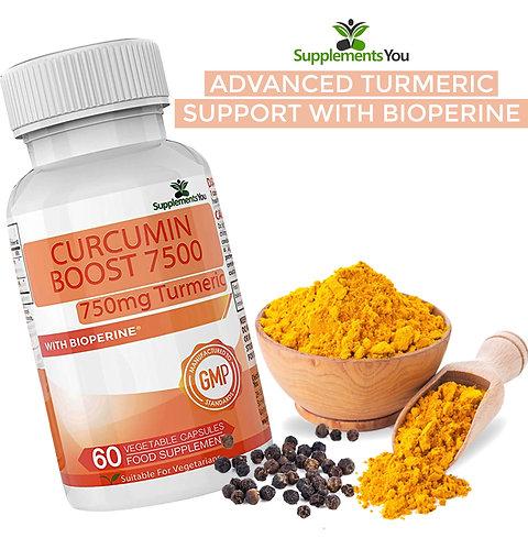 Curcumin Boost 7500 Advanced with bioperine, 712.5mg Curcuminoids per capsule