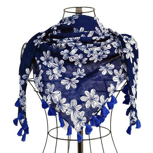 Pashmina azul y flores